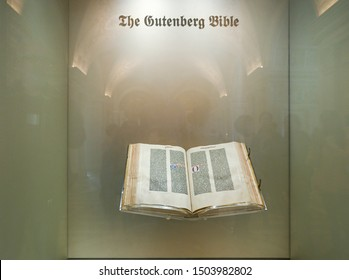 WASHINGTON DC, USA - March 27, 2019: The Gutenberg Bible in the Library of Congress, Washington DC. The Bible was completed around 1455 and is one of only three complete vellum Gutenberg bibles