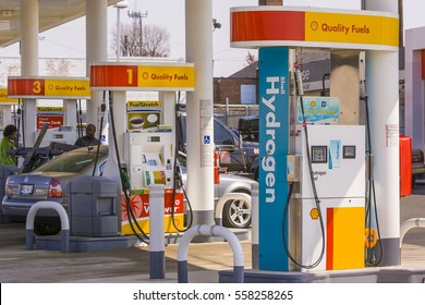 WASHINGTON, DC, USA - MARCH 29, 2006: Hydrogen fuel pump at Shell station, for automobiles running on pollution-free hydrogen-powered fuel cells.