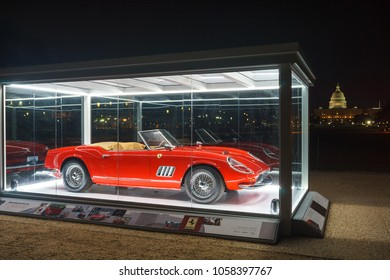 "Washington, DC / USA - March 31, 2018: The Ferrari from the film ""Ferris Bueller's Day Off"" is on display on the National Mall courtesy of the Historic Vehicle Register."