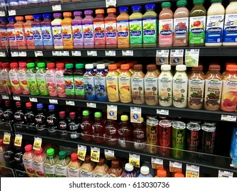 WASHINGTON DC, USA - MARCH 31, 2017: Healthy drinks in the fresh food section of a grocery store.