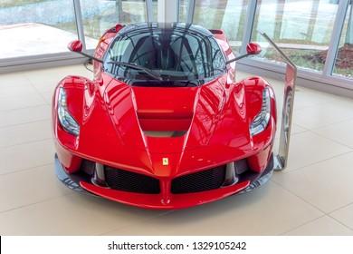 Washington, DC / USA - March 4, 2019: A rare, 1 of 499 in the world Ferrari La Ferrari is currently for sale at Ferrari of Washington for over $3 million.