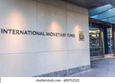 Washington DC, USA - March 4, 2017: IMF entrance with sign of International Monetary Fund and logo
