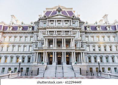 Washington DC, USA - March 4, 2017: Dwight D. Eisenhower Execute Office Building and entrance