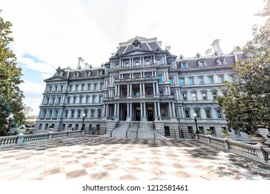 Washington DC, USA - March 9, 2018: Dwight D. Eisenhower Execute Office Building during day in winter or spring, nobody, exterior architecture on national mall
