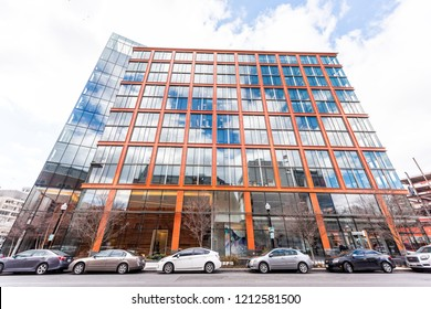 Washington DC, USA - March 9, 2018: 1200 17th Street NW modern building in capital city of United States with red color and glass windows, Democracy Fund, Pillsbury offices