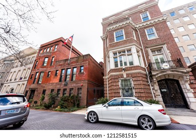 Washington DC, USA - March 9, 2018: Republic of Chile embassy and consulate sign with flag by entrance in capital city, nobody, exterior