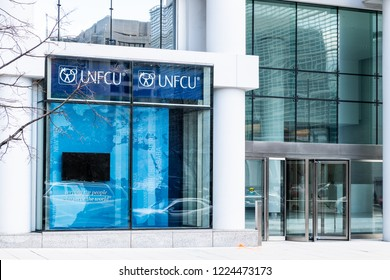 Washington DC, USA - March 9, 2018: United Nations Federal Credit Union, UNFCU, office, bank, branch in District of Columbia, banking for World Bank and IMF