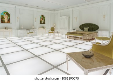 Washington, DC / USA - May 1, 2018: To honor the 50th anniversary of 2001: A Space Odyssey, an exact recreation of the hotel room from the end of the movie is on display at the Air & Space Museum.