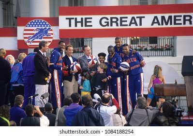 Washington, DC., USA,  May 1 1992 President George H.W. Bush with Arnold Schwarzenegger and the Harlem Globetrotters kick off the 3rd Great American Workout at the White House.