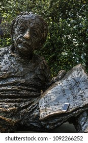 Washington DC, USA - May 10, 2018: The Albert Einstein Memorial, a bronze statue at the National Academy of Sciences.