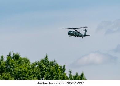 Washington DC, USA May 10, 2019 Blackhawk Executive Transport helicopter over the Potomac River