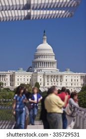 WASHINGTON, DC, USA - MAY 10, 2010: The United States Capitol dome, as seen from the balcony of the Newseum.