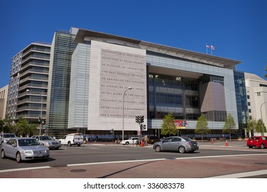 WASHINGTON, DC, USA - MAY 10, 2010: First Amendment of the U. S. Constitution on wall outside the Newseum, on Pennsylvania Avenue.
