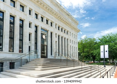 Washington, DC / USA - May 11, 2019: Apple opened a flagship Apple store in the Carnegie Library in downtown Washington, DC after over a year of renovations.