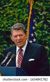 Washington, DC. USA, May 13, 1986 President Ronald Reagan delivers remarks during a question and answer session with students of John A Holmes High School of Edenton, North Carolina in the Rose Garden