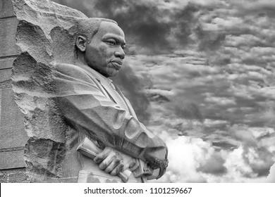 WASHINGTON DC, USA - MAY 17 2018 - martin luther king memorial on cloudy day