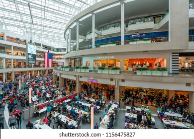 Washington DC, USA - May 18, 2018: People visiting a shopping mall in the United States
