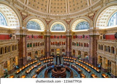 Washington DC, USA - May 18, 2018: Main Reading Room of the Library of Congress in Washington DC
