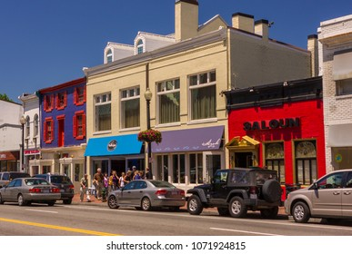 WASHINGTON, DC, USA - MAY 19, 2009: Buildings on M Street in Georgetown.