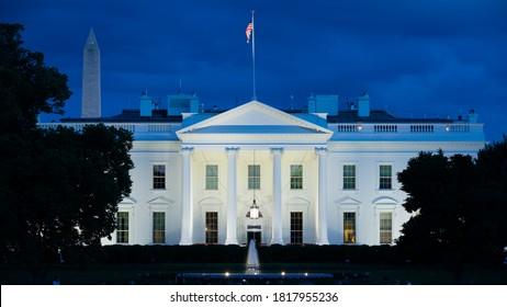 Washington, DC, USA- May 20, 2019: The White House in Washington DC at Blue Hour