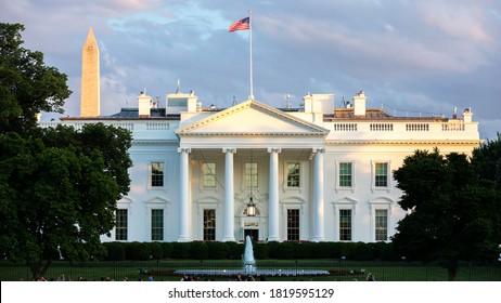 Washington, DC, USA- May 20, 2019: The White House in Washington DC Sunset