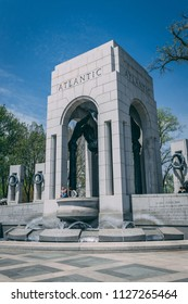 WASHINGTON D.C., USA MAY 2018: WWII memorial. Editorial only.