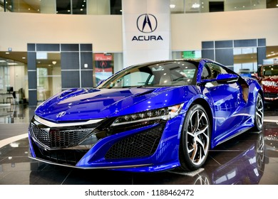 WASHINGTON DC, USA - MAY 21, 2018 - An Acura NSX displayed in the showroom of an Acura dealership.