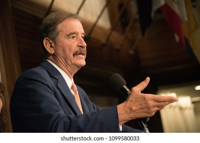 Washington, DC / USA - May 22, 2018: Vicente Fox, former president of Mexico, speaks to a luncheon at the National Press Club