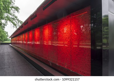 Washington, DC / USA - May 27, 2018: For Memorial Day, the Poppy Memorial is on display, and contains approximately 645,000 poppies: one for each American who has died in War since World War I.