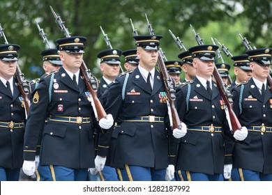 Washington, D.C., USA - May 28, 2018: The National Memorial Day Parade, Members of the United States Army marching down Constitution Avenue