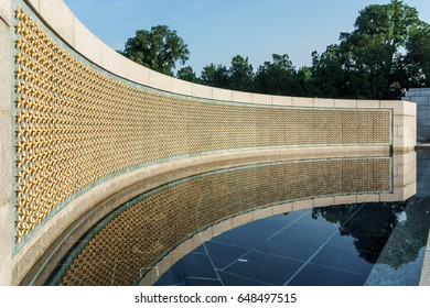 WASHINGTON, DC, USA - MAY 29, 2017: There are 4048 stars at the WWII Memorial in DC, each one representing 100 service members who are missing or who died in World War II.