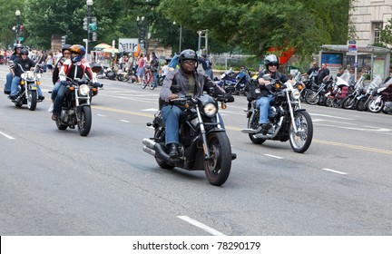 WASHINGTON, DC, USA - MAY 29: Motorcycles travel down Constitution Avenue as part of the annual Rolling Thunder motorcycle ride for American POWs and MIA soldiers on May 29, 2011 in Washington, DC, USA