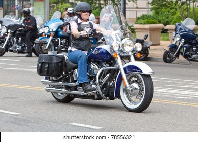 WASHINGTON, DC, USA - MAY 29: Motorcycles travel down Constitution Avenue as part of the annual Rolling Thunder motorcycle ride for American POWs and MIA soldiers. May 29, 2011 in Washington, DC, USA