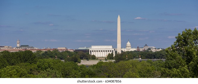 WASHINGTON, DC, USA - MAY 3, 2017:  Skyline of Lincoln Memorial, Washington Monument, U.S. Capitol building and dome (L-R).