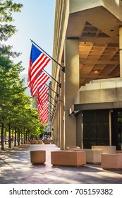 Washington DC, USA - May 3, 2015: Look at the entrance of the J. Edgar Hoover Building which is located in Washington. It is main building of Federal Bureau of Investigation or FB