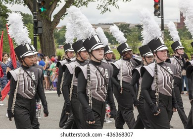 WASHINGTON D.C., USA - May 30, 2016: Marching bands participate in a Memorial Day parade on Constitution Avenue in Washington D.C.