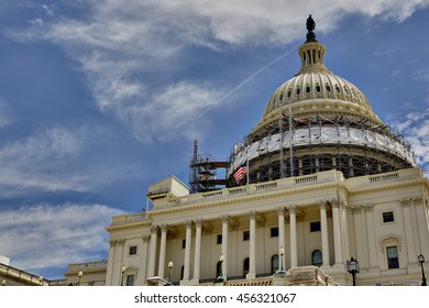 Washington DC, USA - May 30, 2016:Scaffolding on the dome of the US Capitol Building in Washington DC