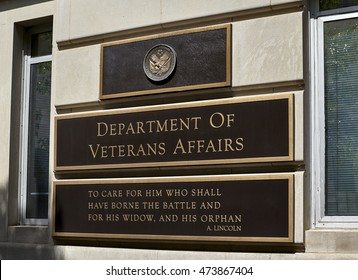 Washington DC, USA - May 30, 2016: Sign on Department of Veterans Affair building in Washington DC
