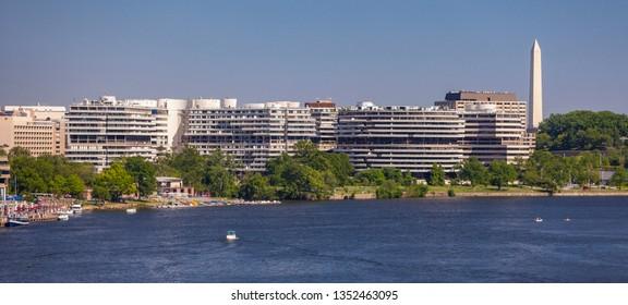 WASHINGTON, DC, USA - MAY 5, 2010: Watergate Complex, Washington Monument, and the Potomac River.