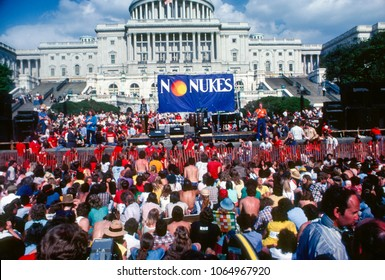 """Washington DC., USA, May 6, 1979 California Governor Jerry Brown addresses the massive crowd of protestors that gathered at the west front steps of the US Capitol during the """"No Nukes"""" protest"""