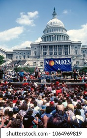 "Washington DC., USA, May 6, 1979 The ""No Nukes"" protest on the west front steps of the US Captiol weeks after the nuclear power plant at Three Mile Island in Pennsylvania suffered a parcel melt down"