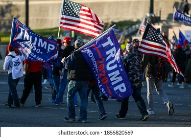 Washington, DC / USA - Nov. 14, 2020: Thousands of Trump supporters gather at the Supreme Court to show their support for President Trump after the election.