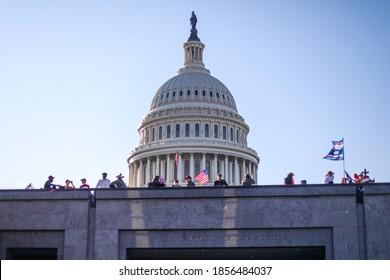 Washington, DC / USA - Nov. 14, 2020: Thousands of Trump supporters gather at the US Capitol and the Supreme Court to show their support for President Trump after the election.