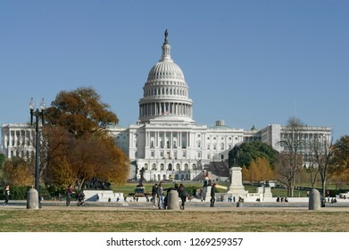 WASHINGTON DC, USA - NOV 24, 2018: United States Capitol, often called Capitol Building, home of United States Congress and federal government, located on Capitol Hill at eastern end of National Mall