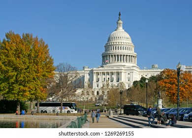WASHINGTON DC, USA - NOV 24, 2018: United States Capitol, often called Capitol Building, home of United States Congress and seat of legislative branch of U.S. federal government on Capitol Hill