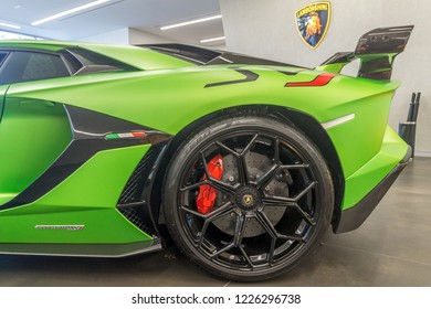 Washington, DC / USA - November 10, 2018: the only Lamborghini Aventador SVJ in the United States is on display in Washington, DC.