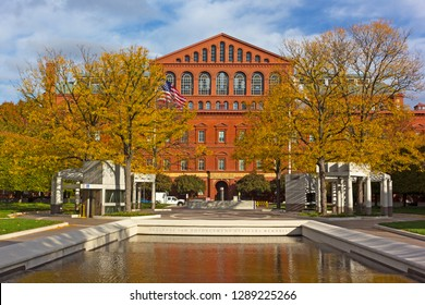 WASHINGTON DC, USA – NOVEMBER 10, 2017: National Law Enforcement Officers Memorial and National Building Museum in close proximity to each other on top of Judiciary Square metro station.