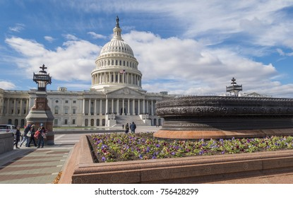 WASHINGTON, DC, USA - NOVEMBER 10, 2017: United States Capitol dome and garden planter.