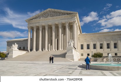 WASHINGTON, DC, USA - NOVEMBER 10, 2017: United States Supreme Court building exterior.