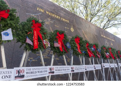 Washington, DC / USA - November 11, 2018: To recognize the 10th anniversary of the end of World War One, the United States is having a ceremony at the site of the forthcoming WWI Memorial.